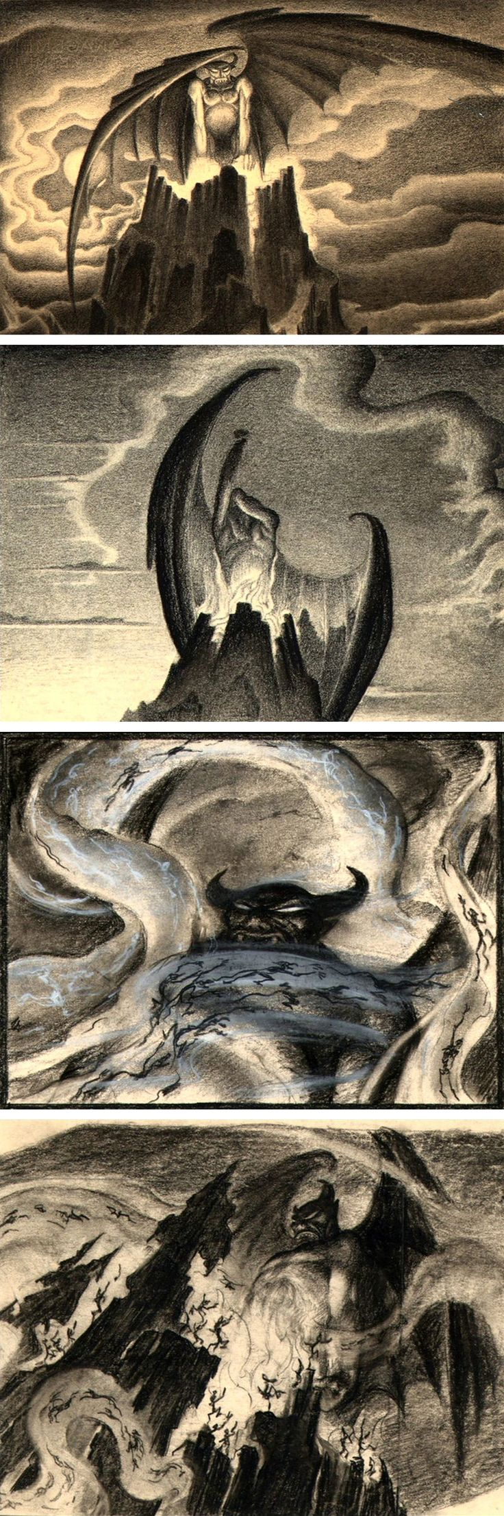 "Concept art by Kay Nielsen for the 'Night on Bald Mountain' sequence from Disney's ""Fantasia"" (1940)"