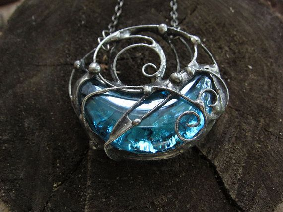 Statement pendant stained glass necklace glass by MaryBulanova