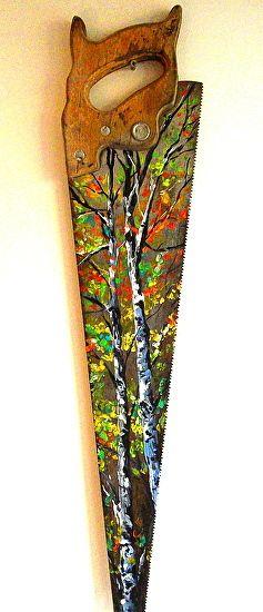 "Painting idea. Autumn Birch trees on Hand Saw by Lindsey Dahl Acrylic ~ 24"" x"