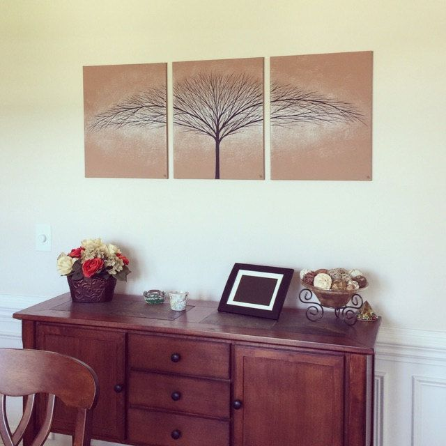 ToddEvansArt Etsy Wall Art Canvas Original Large Tree Painting Modern Home Living Room Golden Brown Paintings Decor