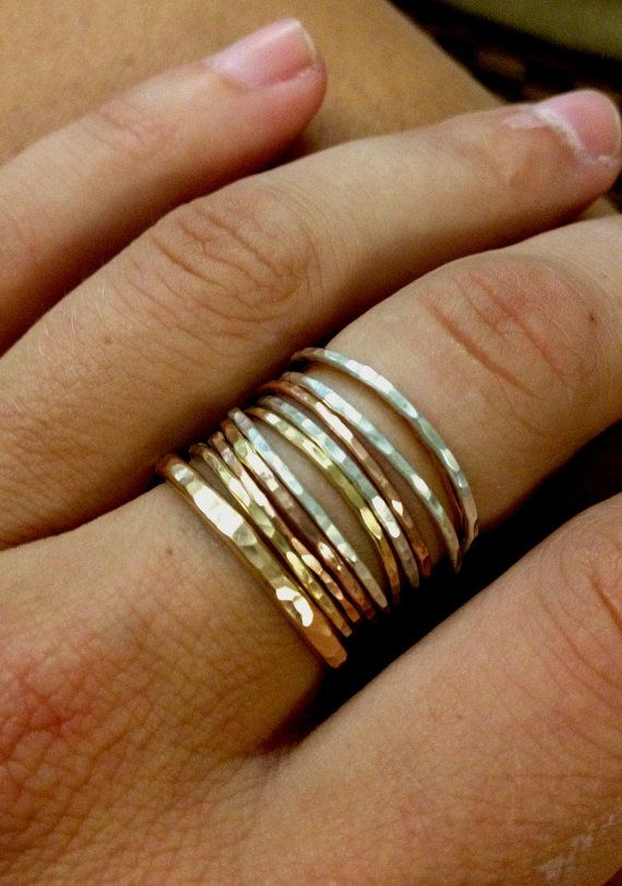 Tower of Hanoi Stackable Rings in Goldfilled by SisterLucy on Etsy, $64.00 - I love the thick and thin bands.