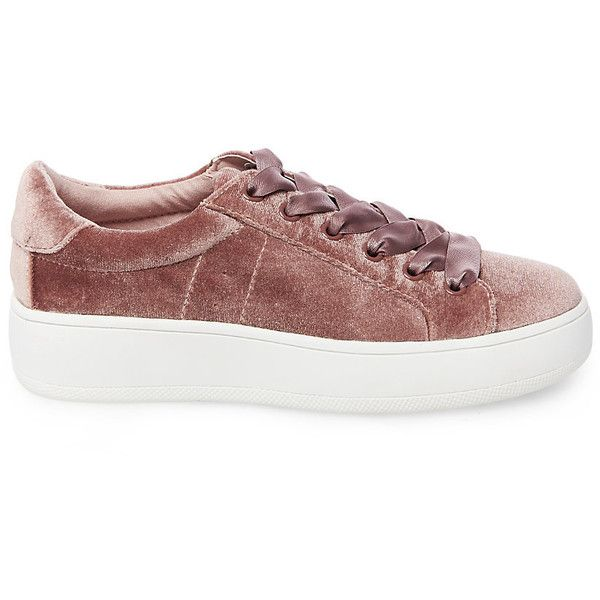 Steve Madden Women's Bertie-V Sneakers ($60) ❤ liked on Polyvore featuring shoes, sneakers, blush, steve madden, steve madden footwear, steve madden sneakers, velvet sneakers and fleece-lined shoes