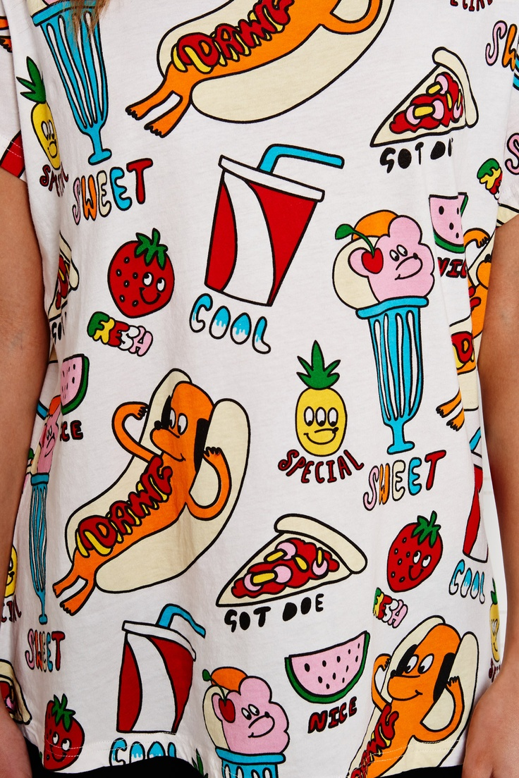 Lazy Oaf Hotdog Print Oversized Tee at Urban Outfitters
