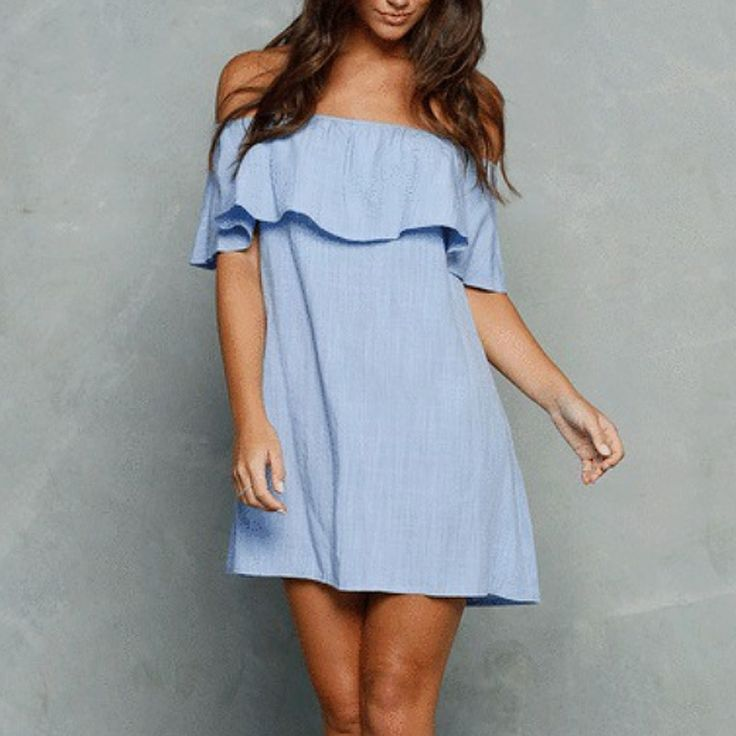 Solid Slash Neck Women Dress 2016 Summer Sexy Fashion Off the Shoulder Sleeveless Mini Above Knee Dress Ruffled Strapless Dress