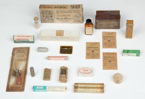 Lot: 23 Vintage Apothecary Products, Lot Number: 0163, Starting Bid: $20, Auctioneer: Material Culture, Auction: July Estates, Date: July 17th, 2015 PDT
