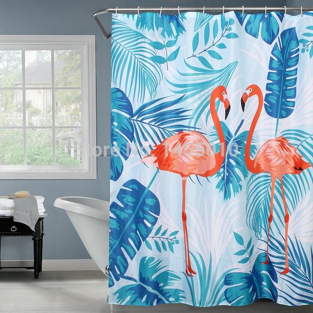 Happy Tree Polyester Red Flamingo Green Leaves Shower Curtain Thicken Fabric Bat… – Flamingo bathroom