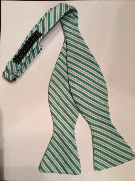 Green and Lavendar Striped Bow Tie by TarRiverTies on Etsy