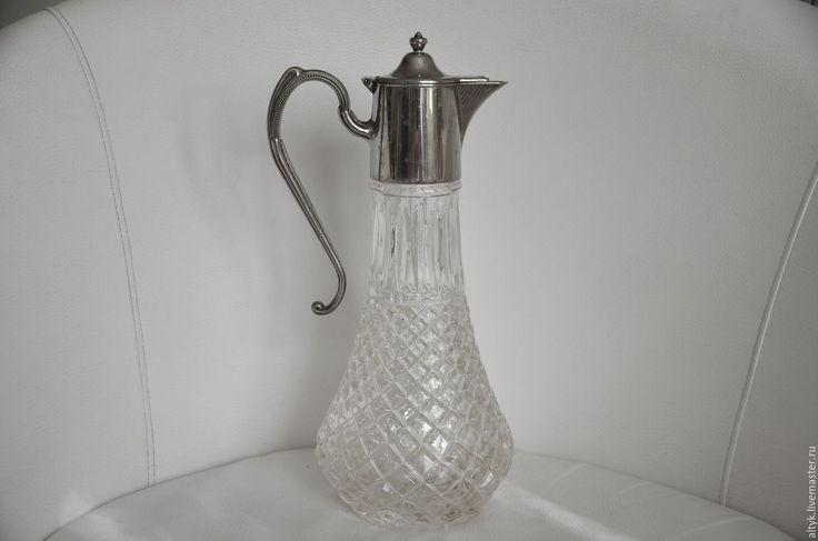 Купить Старинный кувшин для напитков с посеребрённым навершием. Англия. - серебряный, кувшин, кувшины, кувшин для воды