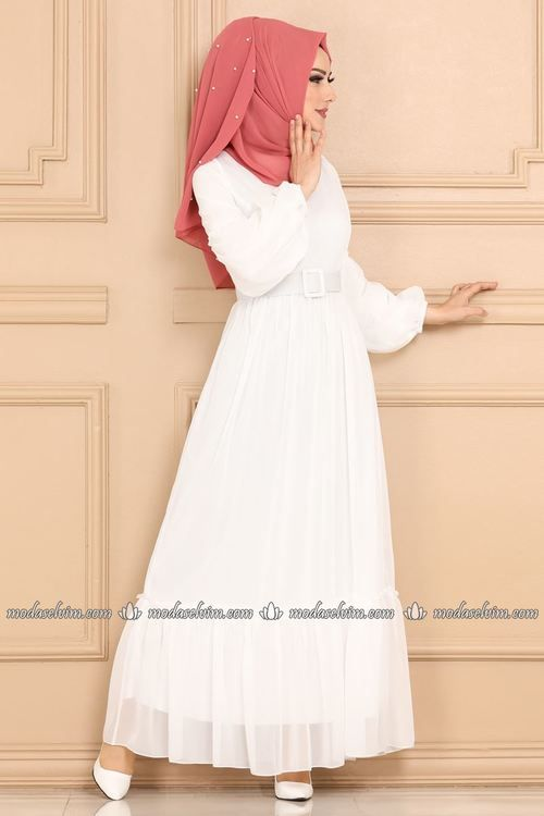 Modaselvim Elbise Balon Kol Sifon Elbise 5190ay342 Ekru Moda Stilleri Sifon Elbise Elbise