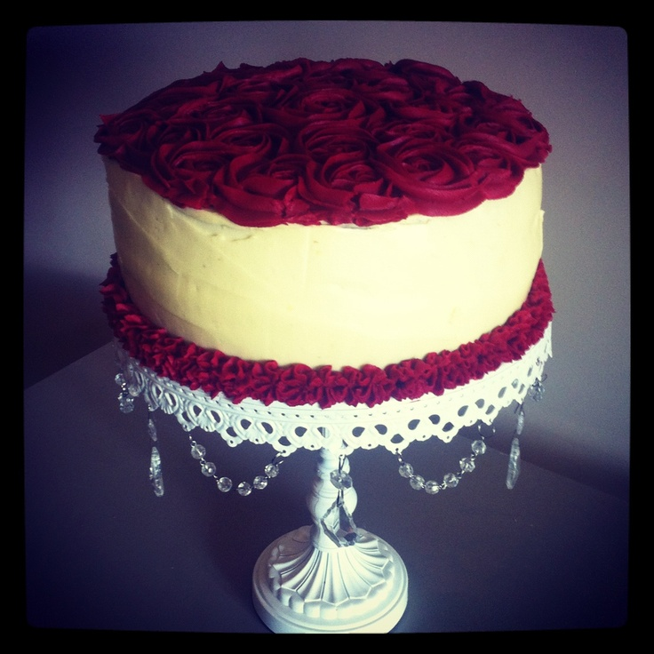 Cream Cake Decoration Images : Red Velvet Cake with Red Rose Buttercream Icing & Cream Cheese Icing cakes cakes and more ...