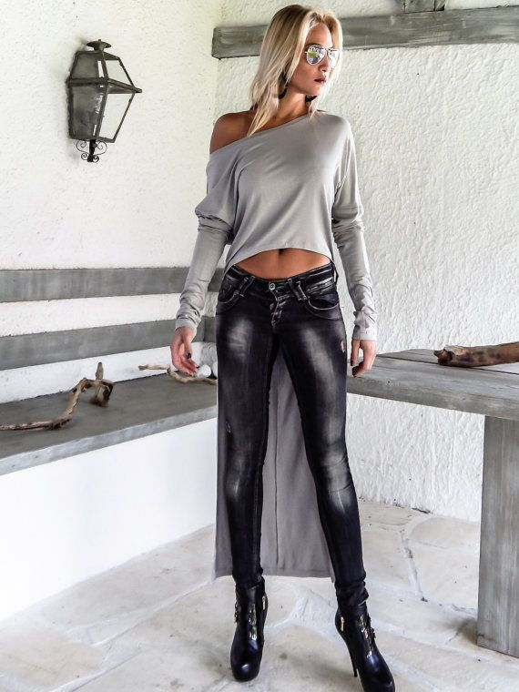 Luz gris asimétrica blusa - túnica / asimétrico corto largo delantero trasero de blusa-túnica / #35115