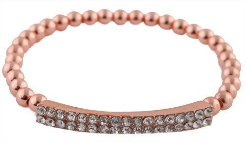 Ladies Iced Out Metallic Rose Gold Bar Style Beaded Stretch Bracelet JOTW. $1.95. Great Quality Jewelry!. 100% Satisfaction Guaranteed!