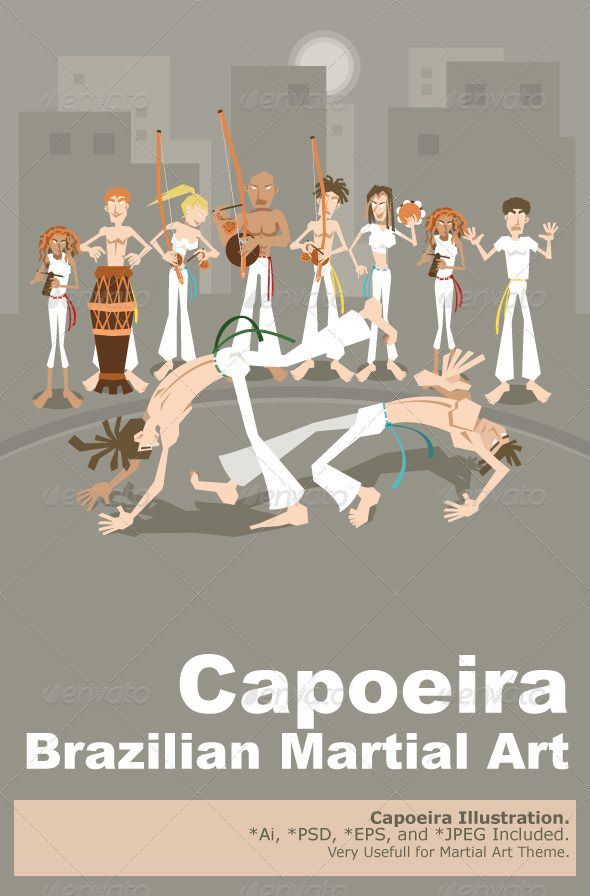 Brazilian Martial Art Capoeira #GraphicRiver Brazilian People Playing Capoeira Martial Arts in Brazil An Illustration Of Brazilian Martial Art Capoeira . Useful As Icon, Illustration And Element For Sport And Martial Arts Theme. Main File is Vector Ai. Easy to Use and Custom. Also Available in another format. PSD (Vector Smart Object), Eps.8 and High Ress Jpeg. Created: 12July13 GraphicsFilesIncluded: PhotoshopPSD #JPGImage #VectorEPS #AIIllustrator Layered: No MinimumAdobeCSVersion: CS…