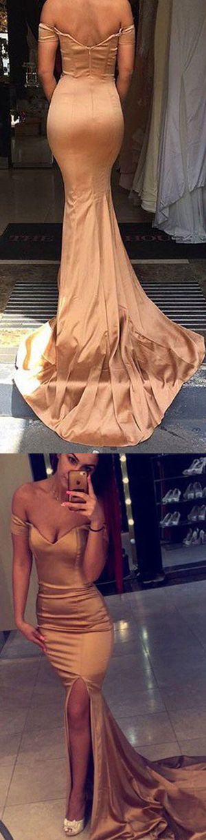 gold long off-the-shoulder mermaid prom dress with train, evening dress, party dress