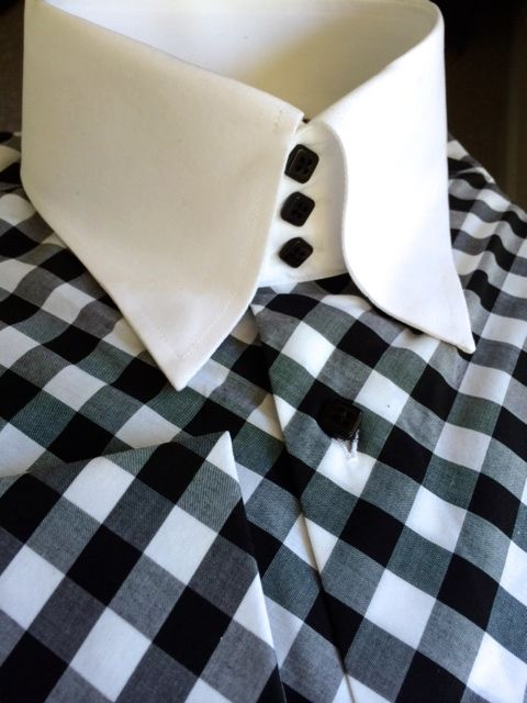 MorCouture Black White Diagonal Gingham Check High Collar Shirt