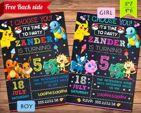 Pokemon Invitation, Pokemon Party, Pokemon Birthday Invitation, Girl Pokemon Invitation, Boy Pokemon Invitation, Pokemon GO Theme Printables by GoodPrintableShop on Etsy https://www.etsy.com/listing/470318430/pokemon-invitation-pokemon-party-pokemon