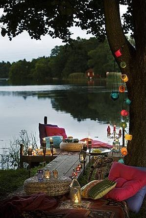 My perfect home would be a house on the water just so I can spend all of my time making the backyard amazing like this.