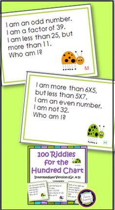 "100 multi-step riddle cards for 1-100. Your students will practice area, perimeter, factors, multiples, place value, multiplication, division, remainders, prime numbers, angles, 2-dimensional shapes, decades, centuries, and coins.  A customer said, ""I really appreciate how the clues make students activate other math knowledge than just number sense"".  https://www.teacherspayteachers.com/Product/Fourth-Grade-and-Fifth-Grade-Math-100-Riddles-for-the-Hundred-Chart-408622"