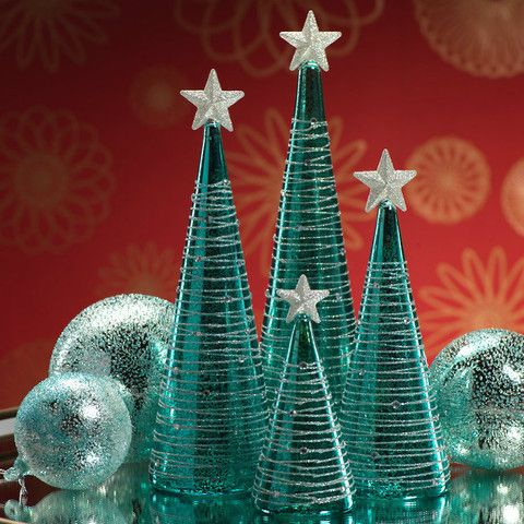 """Turquoise and Silver LED Christmas Tree - Short Dimensions: 2.75"""" x 6"""" - Medium Dimensions: 3.5"""" x 9.5"""" - Tall Dimensions: 3.5"""" x 11"""" - Extra Tall Dimensions: 3.5"""" x 12"""""""