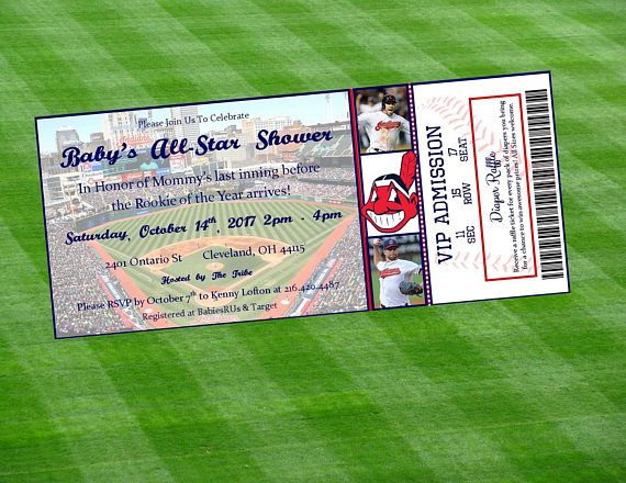 Cleveland Indians Inspired MLB Baseball Ticket Baby Shower