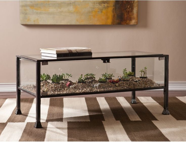 Glass Cocktail Table Display Terrarium Coffee Rectangle Black Finish Furniture #HarperBlvd #Transitional #Table #Furniture #Glass #Modern