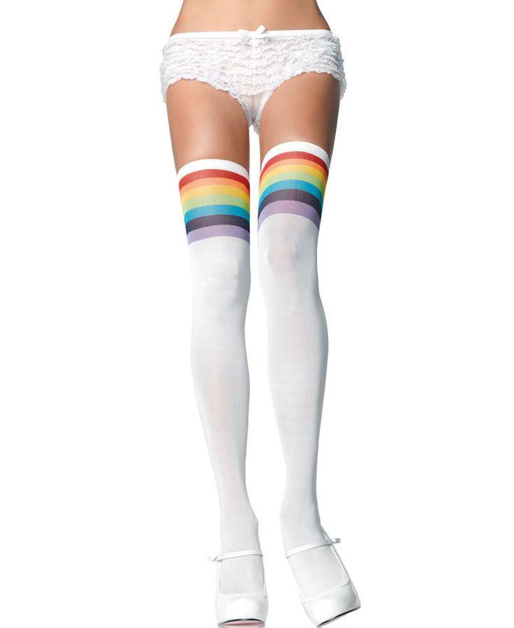 Over The Rainbow Opaque Thigh High Stockings - Leg Avenue 6612 #LegAvenue #Stockings