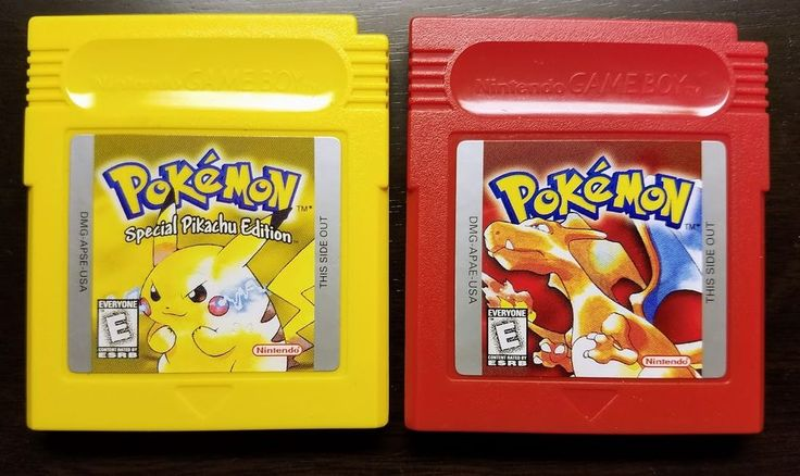 Authentic Pokemon Yellow & Red Ver. Nintendo Game Boy New Battery VG+ Free Ship