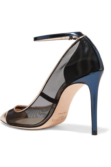 Jimmy Choo - Tower Metallic Leather-paneled Mesh Pumps - Gold - IT