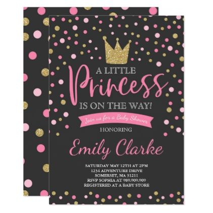 Princess Baby Shower Invitation Pink Gold Shower - girl gifts special unique diy gift idea