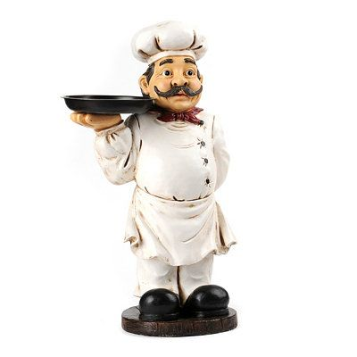 This Chef Will Happily Be Your Kitchen Assistant! Serve Your Family And  Friends A Hearty Delight With The Chef With Tray Statue Displayed In Your  Kitchen.