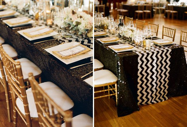 black gold chevron wedding reception