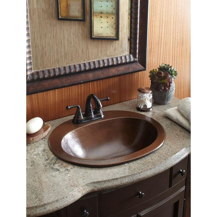Image Gallery Website SINKOLOGY Pfister All In One Seville Copper Drop In Bathroom Sink Design Kit with Ashfield in Centerset Faucet in Rustic Bronze