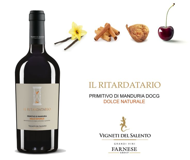 """Our #Puglia range is growing with the newborn """"Il Ritardatario"""" Primitivo di Manduria DOCG Dolce Naturale.  Deep #ruby red with #garnet reflections; intense and complex bouquet with hints of #overripe red #fruits, #cherries and sour cherries #marmelade, dry #figs; light notes of #cinnamon and #vanilla. Full and soft #palate, good balance between #sweetness and acidity. Persistent #aftertaste. Excellent with aged sheep milk #cheeses, roast meat."""