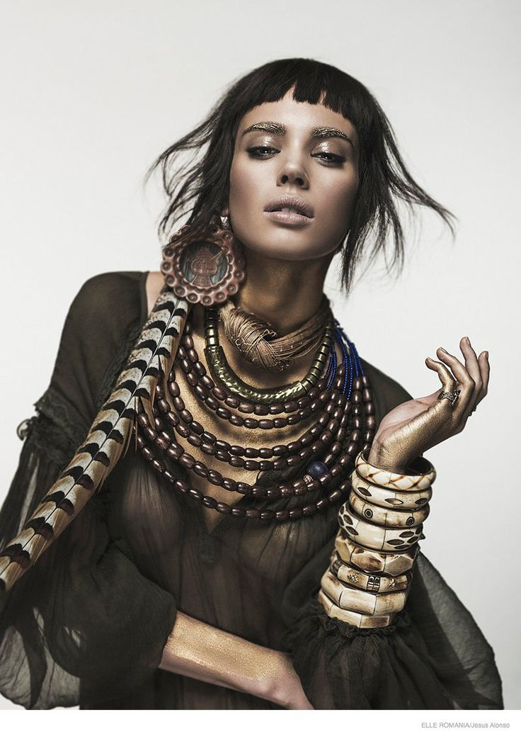 Nuria Nieva in Tribal Chic Fashion for Elle Romania by Jesus Alonso