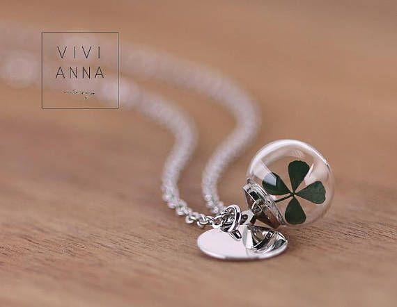 Glcksklee personalisierte Kette echter Klee #jewelry #necklace @EtsyMktgTool http://etsy.me/2ytGcPh