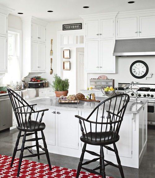 Dark Windsor chairs + red rugDecor,  Boards, Windsor Stools, Barstools, Kitchens Ideas, Dining Table'S, Bar Stools, Windsor Chairs, White Kitchens