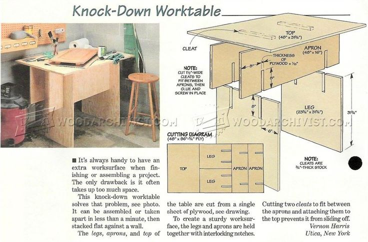 Knock-Down Worktable Plan - Workshop Solutions Projects, Tips and Tricks | WoodArchivist.com