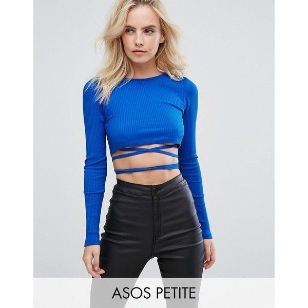 ASOS PETITE Crop Top in Rib with Tie Detail ($23) ❤ liked on Polyvore featuring tops, blue, petite tops, wrap around crop top, ribbed long sleeve top, petite long sleeve tops and blue crop top