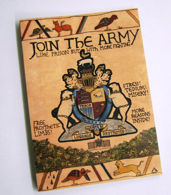 Join the Army  a satirical antiarmy by spellingmistakes on Etsy, £2.00