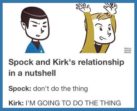 Spock and Kirk in a nutshell…This is so accurate.