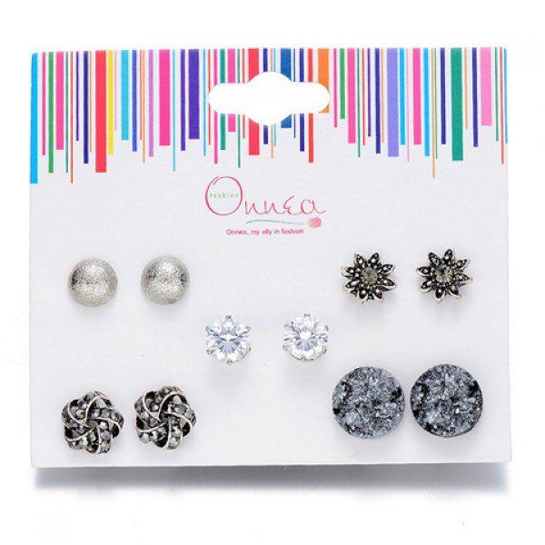 A Suit of Graceful Rhinestone Flower Earrings For Women #shoes, #jewelry, #women, #men, #hats, #watches