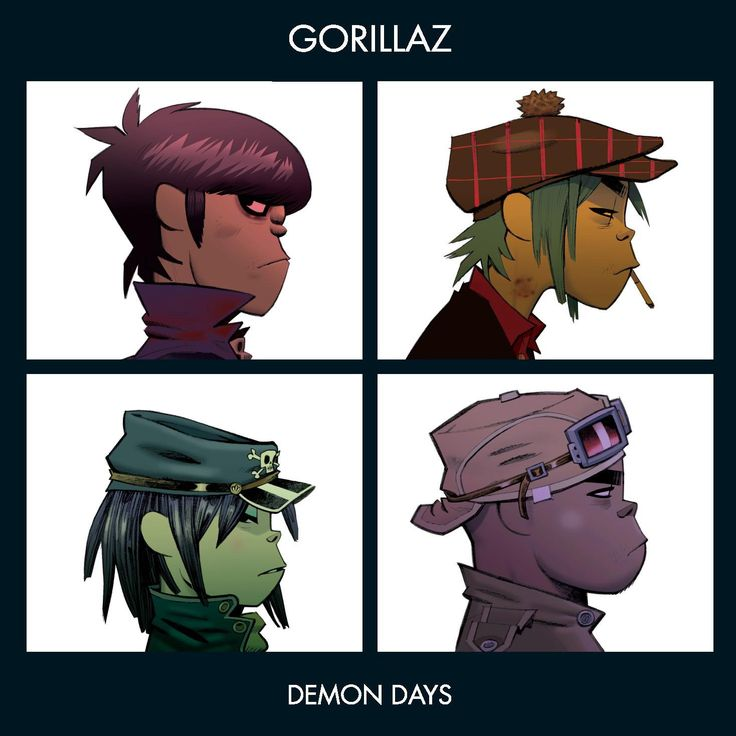 Gorillaz - Demon Days - Poster/Print with Black Card Frame and Mount (21cm x 21cm)