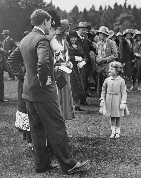 Princess Elizabeth later Queen Elizabeth II, at a garden party held at Glamis Castle