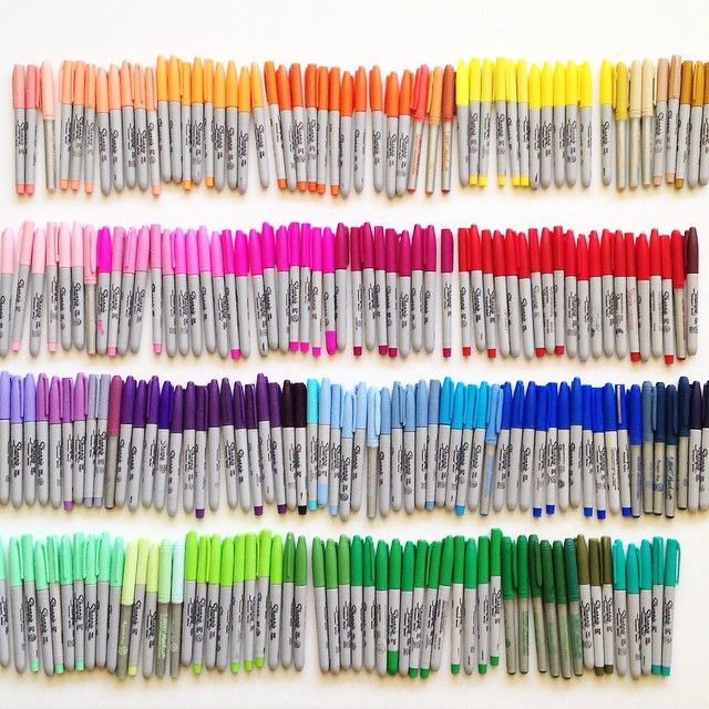 Rainbow collection of Sharpie markers. Photo by Tonyavista....Would LOVE all of these!
