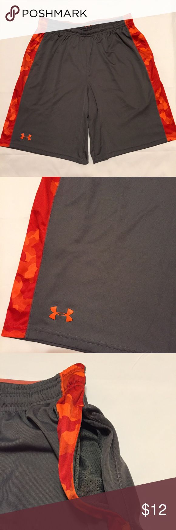 """Under Armour Loose Gray Athletic Shorts Size L Under Armour Loose Gray Athletic Shorts Size Large. Orange/red camo design on sides. Elasticized waist and adjustable drawstring. Pockets on sides. Waist: 15.5"""" Length: 21"""" Under Armour Shorts Athletic"""