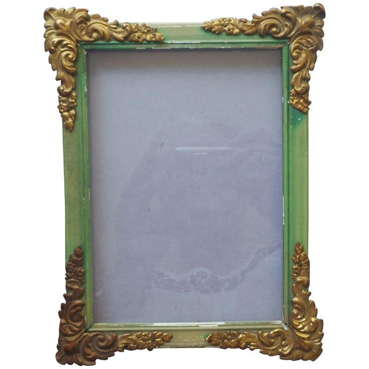 Antique small picture frame, green painted wood, ornate