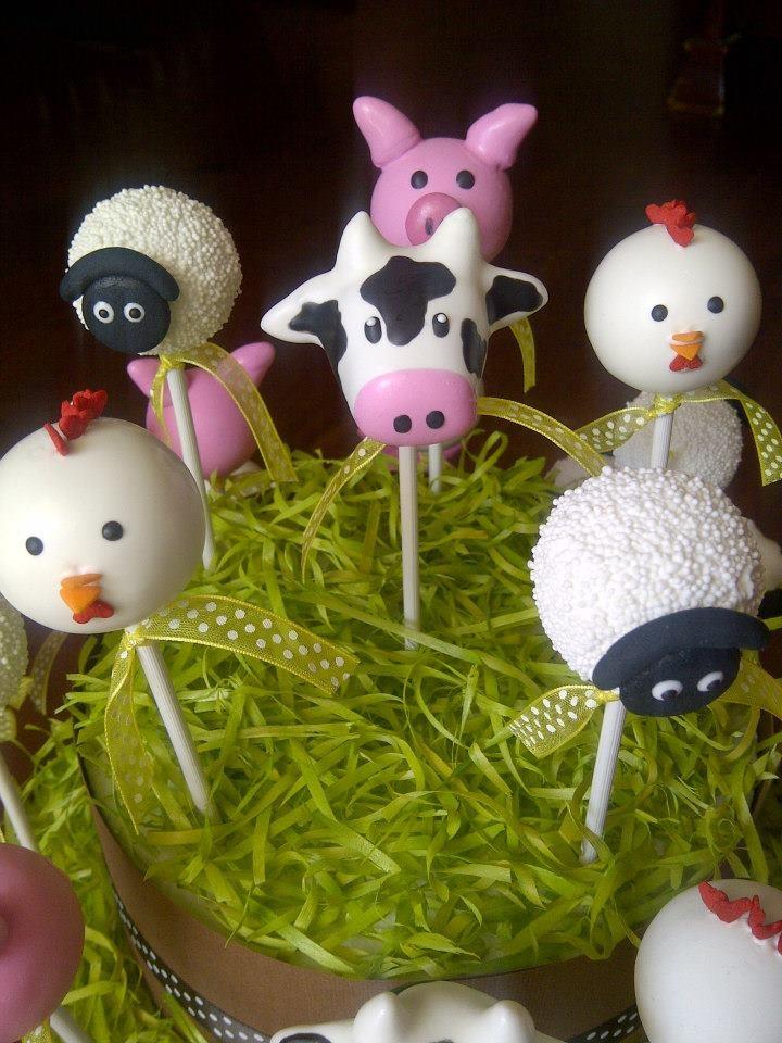 farm animal cake pops sheep cow chicken pig