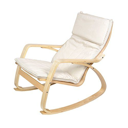 Harima - Reine Birch Natural White Rocking Chair Relaxing Comfortable Cotton Fabric Lounge Nursing Conservatory Armchair with Washable Covers