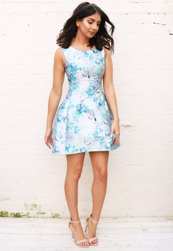 Satin Structured Tulip Shape Oriental Floral Print Dress in Blue – One Nation Clothing