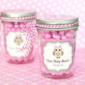 Pink Owl Mini Mason Jars Baby Shower Favors, $1.96 (http://www.babyshowerdepot.com/mini-mason-jars/)